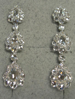 Medium bayco silver rose cut diamond earrings