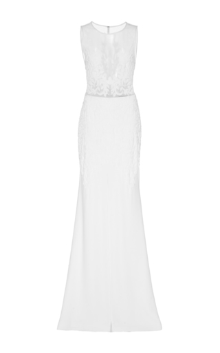 Medium georges hobeika white sheer bodice embroidered gown
