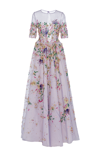 Medium georges hobeika purple floral embroidered short sleeve gown