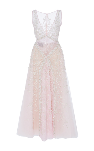 Medium georges hobeika pink plunging v ankle length dress
