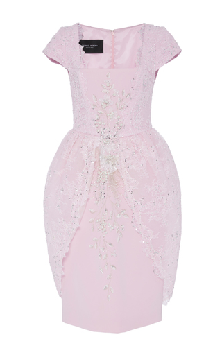 Medium georges hobeika pink embroidered lace knee length dress