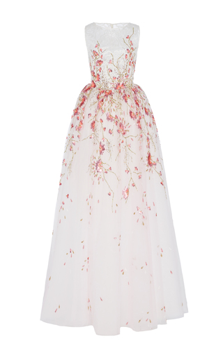 Medium georges hobeika white floral embroidered sleeveless gown