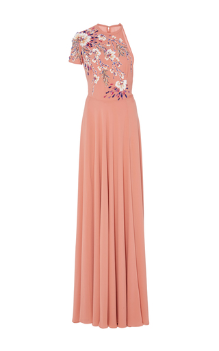 Medium georges hobeika pink single sleeve embroidered gown