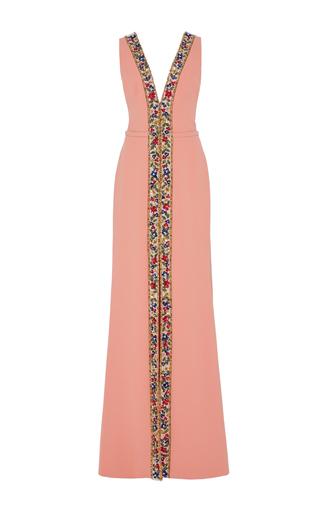 Medium georges hobeika pink beaded trim sleeveless gown