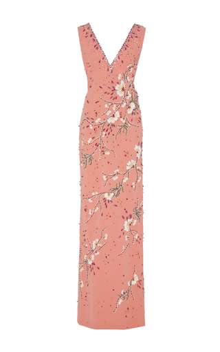 Medium georges hobeika pink v neck sleeveless column gown