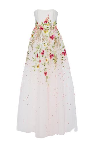 Medium georges hobeika white strapless embroidered gown