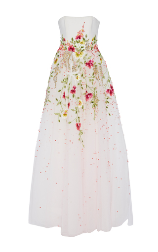 Medium georges hobeika white strapless embroidered gown