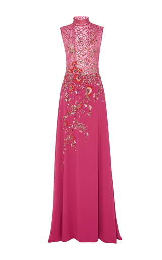 Medium georges hobeika pink embroidered lace mock neck gown