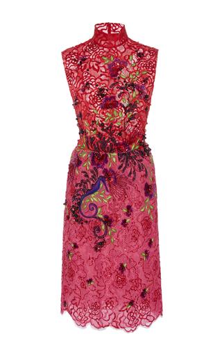 Medium georges hobeika pink embroidered lace mock neck dress