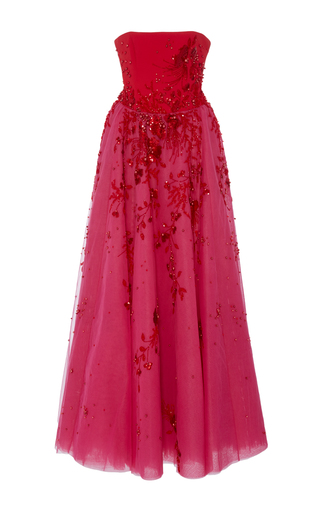 Medium georges hobeika pink strapless embroidered ankle length dress