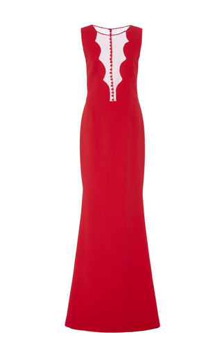 Medium georges hobeika red scalloped neckline fitted gown
