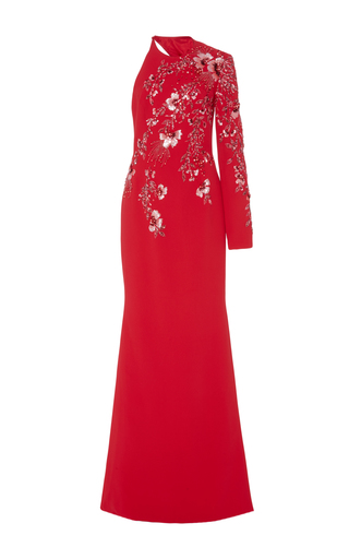 Medium georges hobeika red single long sleeve embroidered gown