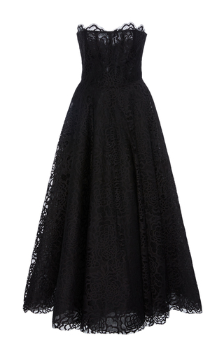 Medium georges hobeika black strapless lace ankle length dress