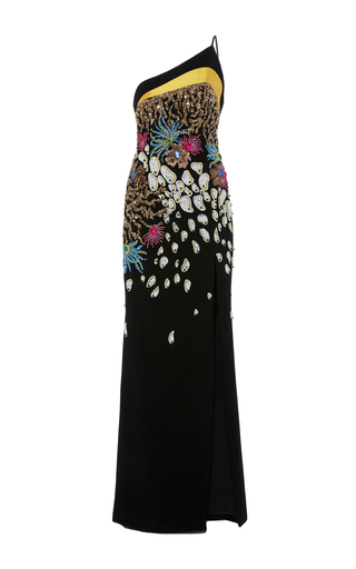 Medium georges hobeika black one shoulder embroidered fitted gown