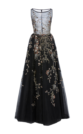 Medium georges hobeika black sheer bodice embroidered sabrina gown