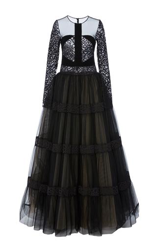 Medium georges hobeika black tiered long sleeve gown