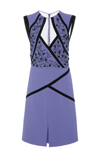 Medium georges hobeika purple embroidered illusion mini dress