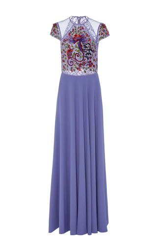 Medium georges hobeika purple intricate lace floor length gown