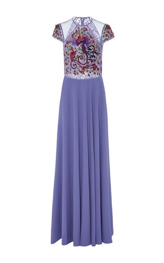 Medium georges hobeika purple intricate lace floor length gown