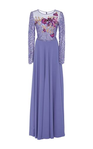 Medium georges hobeika purple scoop neck floor length gown