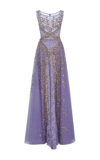 Medium georges hobeika purple embellished sleeveless gown