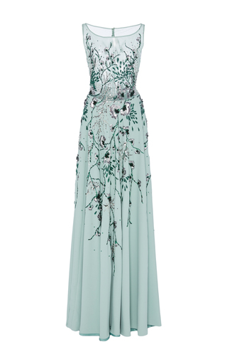 Medium georges hobeika blue embellished floor length gown