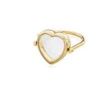 Medium loquet london gold 14k yellow gold 15mm heart locket ring size 47mm
