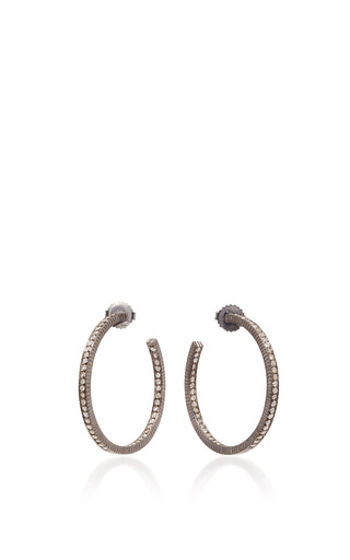 Medium yossi harari gold lilah medium diamond hoop earrings