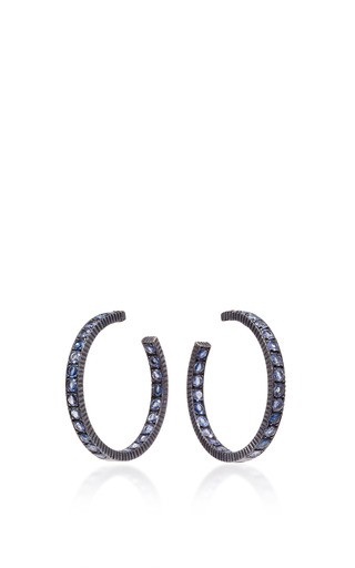 Medium yossi harari gold lilah wide medium sapphire hoop earrings