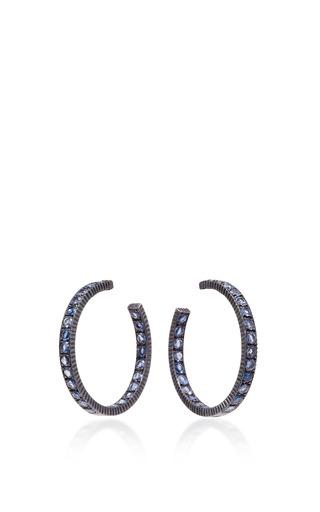 Medium yossi harari gold lilah wide medium sapphire hoop earrings