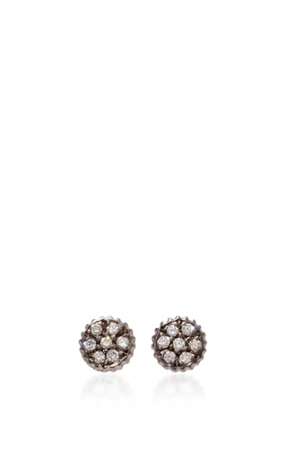 Medium yossi harari gold lilah stud earrings with diamonds