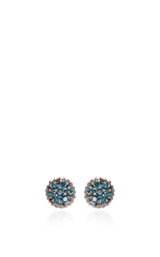 Medium yossi harari gold lilah stud earrings with teal diamonds