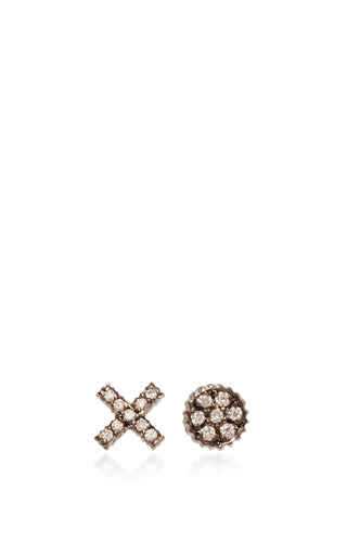 Medium yossi harari gold lilah xo stud earrings with diamonds