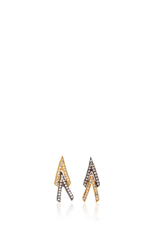Medium yossi harari gold lilah double v stud earrings