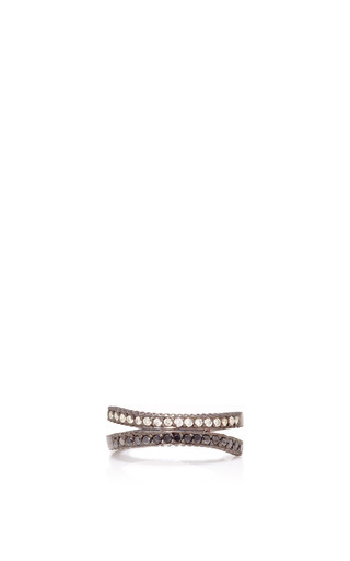 Medium yossi harari gold lilah crisscross ring with black and white diamonds