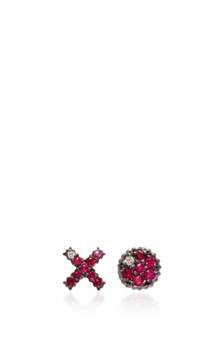 Medium yossi harari gold lilah xo stud earrings with rubies