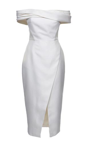 Medium elenareva neutral off the shoulder wrap dress
