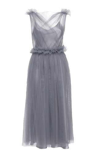 Medium elenareva grey netted ruffle midi dress