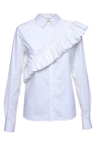 Medium elenareva white ruffle sash shirt
