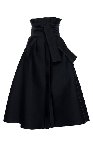 Medium elenareva black high rise tie midi skirt