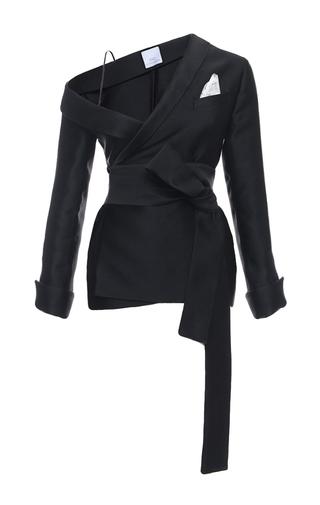 Medium elenareva black bare shoulder wrap jacket