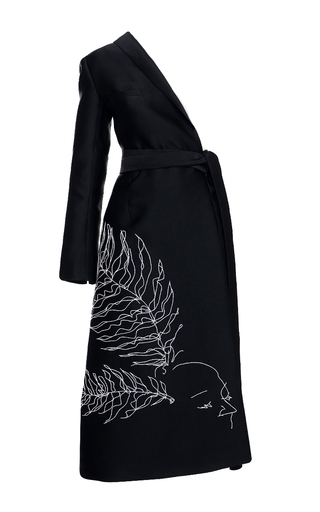 Medium elenareva black embroidered half trench coat