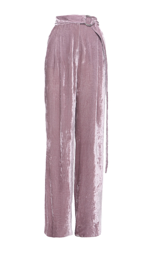 Medium elenareva pink velvet high rise trousers