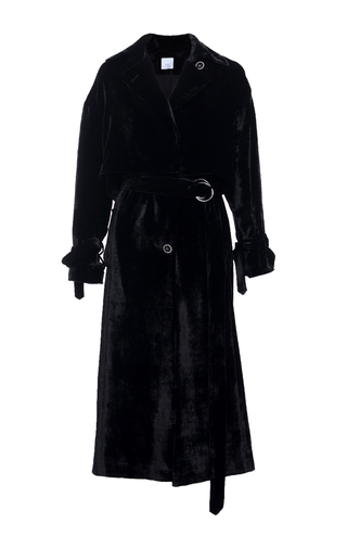 Medium elenareva black velvet trench coat