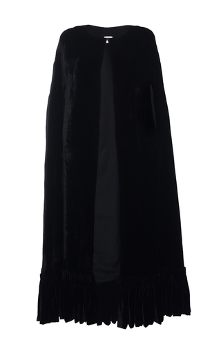 Medium elenareva black pleat trim cape