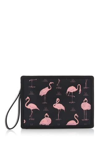 Medium reine black pink flamingo illuminating clutch