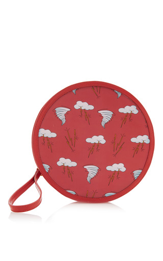 Medium reine red tropical storm illuminating round clutch