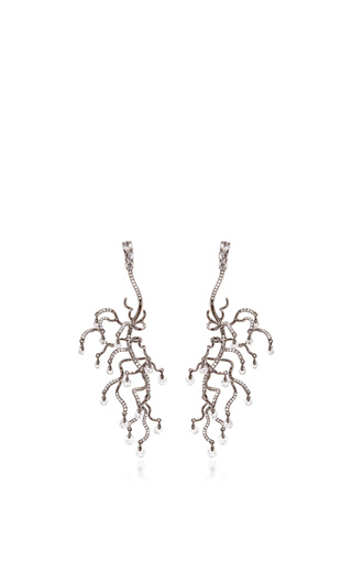 Medium neha dani white black gold and diamond briolette anemone earrings