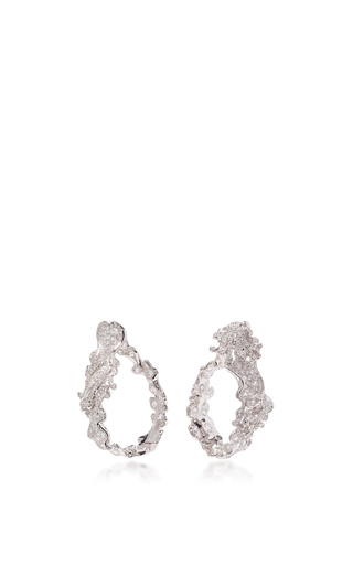 Medium neha dani white diamond sea foam hoops