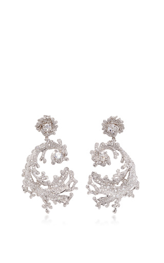 Medium neha dani white diamond crest earrings